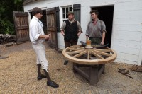 Visiting master wheelwright Phill Gregson at Colonial Williamsburg