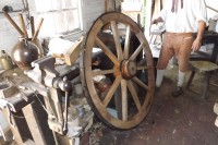 straked wooden gun carriage wheel