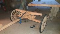 Building a new undercarriage for the Elsie's Journey horsedrawn wagon at Wheelwright's shop in Lancashire, England