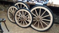 Brand new Wooden wheels at Wheelwright's shop in Lancashire, England