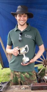 Master wheelwright Phill Gregson with the Wellman Trophy at the Royal Cheshire show.