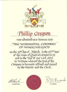 Phill's Yeoman wheelwright certificate for the Worshipful Company of Wheelwright's
